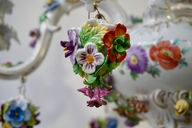 Spectacular Large Italian Rococo Style Porcelain Floral Chandelier For Sale 14