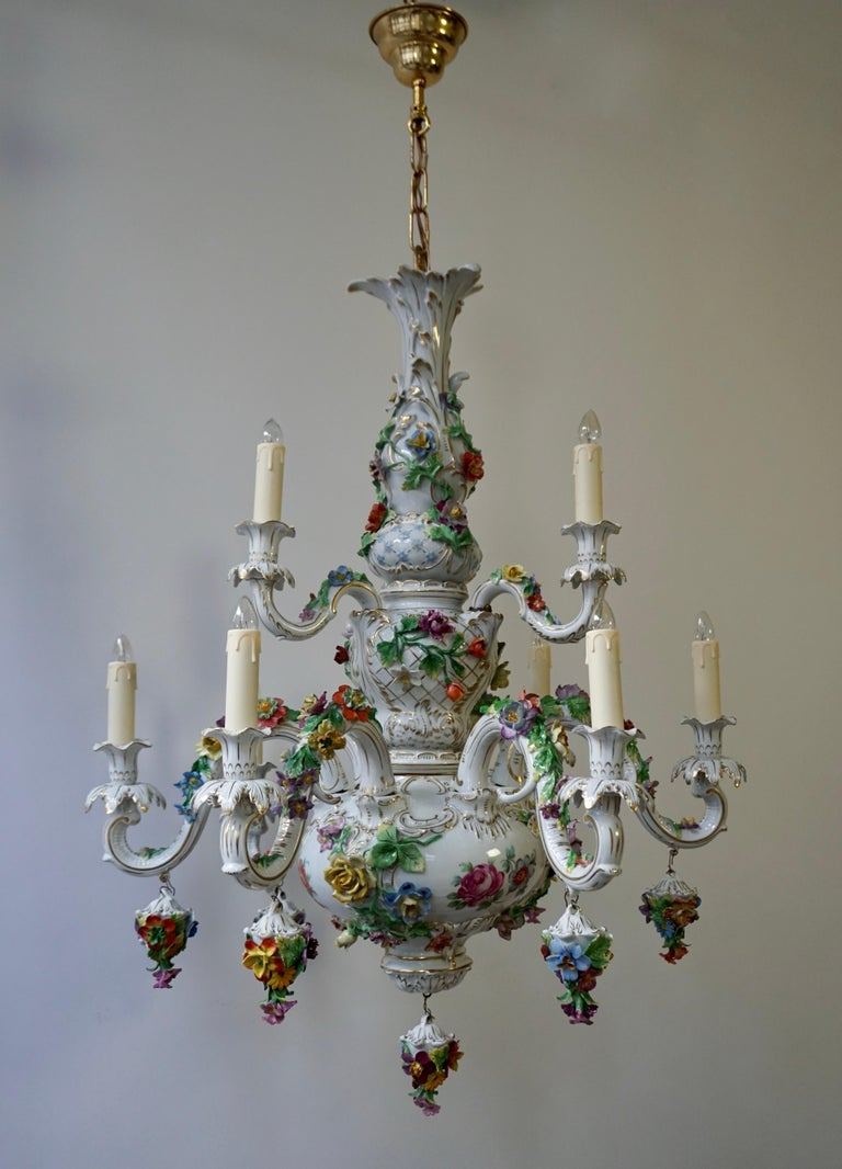 Hollywood Regency Spectacular Large Italian Rococo Style Porcelain Floral Chandelier For Sale