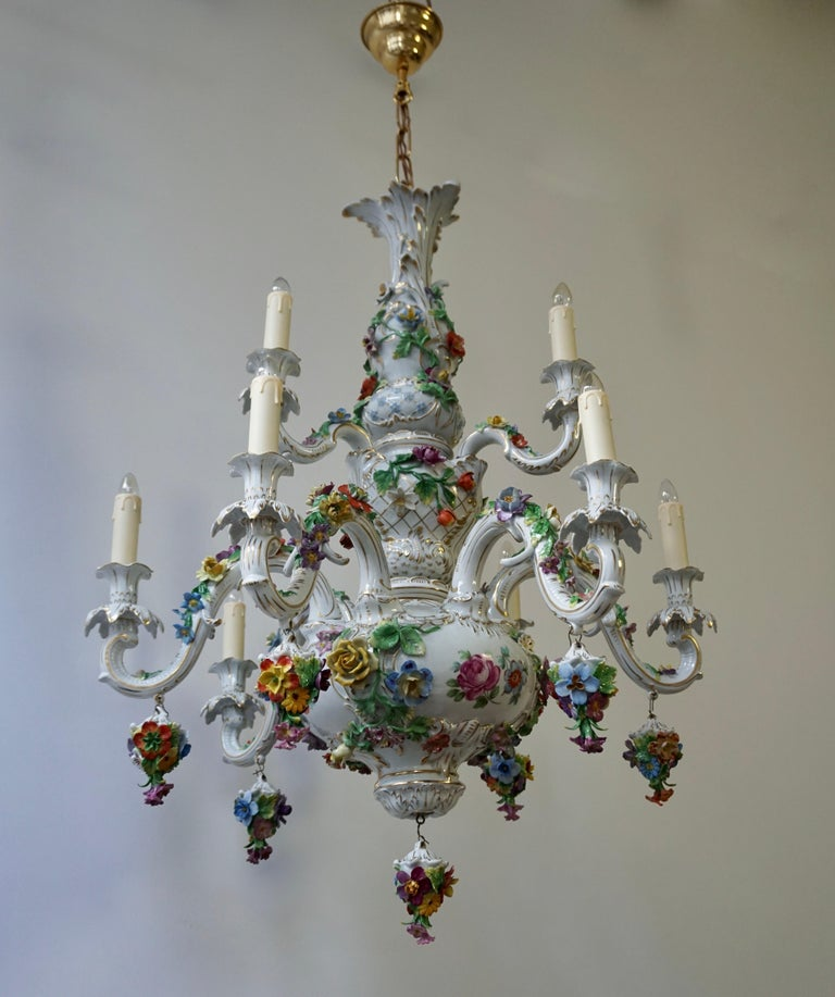 Gilt Spectacular Large Italian Rococo Style Porcelain Floral Chandelier For Sale