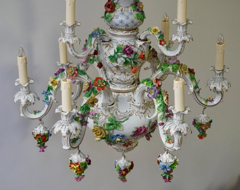 20th Century Spectacular Large Italian Rococo Style Porcelain Floral Chandelier For Sale