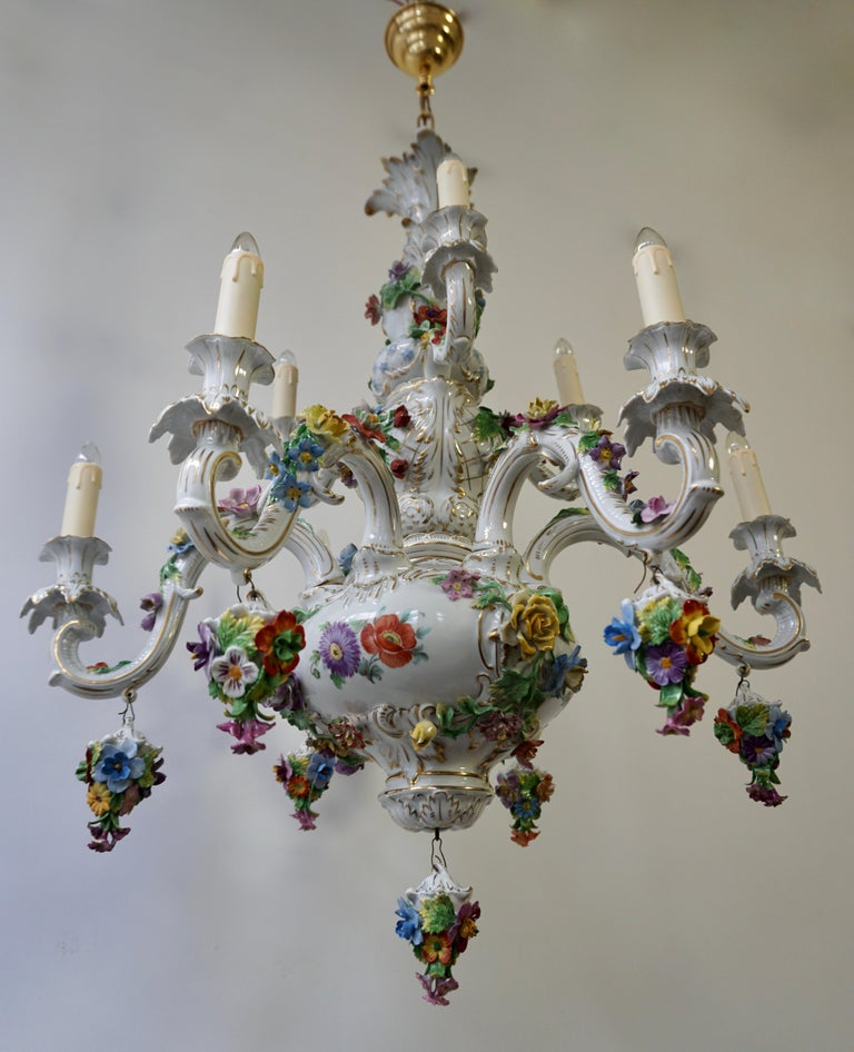 Spectacular Large Italian Rococo Style Porcelain Floral Chandelier For Sale 2