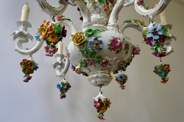 Spectacular Large Italian Rococo Style Porcelain Floral Chandelier For Sale 3