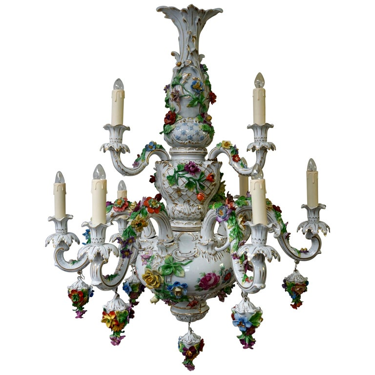 Spectacular Large Italian Rococo Style Porcelain Floral Chandelier For Sale