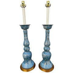 Spectacular Large Pair Marbro Blue and White Chrysanthemum Porcelain Lamps