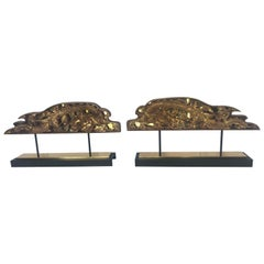 Spectacular Large Pair of Carved Gilded Architectural Fragment Sculptures