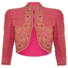 Spectacular Late 1930s or Early 1940s Pink Silk Beaded Bolero Jacket