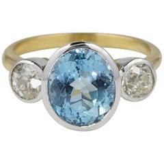 Spectacular Late Art Deco 3.0 Ct Natural Aquamarine .95 Ct Old Diamond Trilogy r