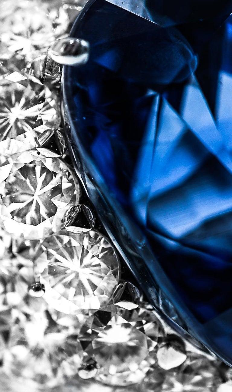 46.31 Carat AGL Ceylon Sapphire  Diamond Ring For Sale 1