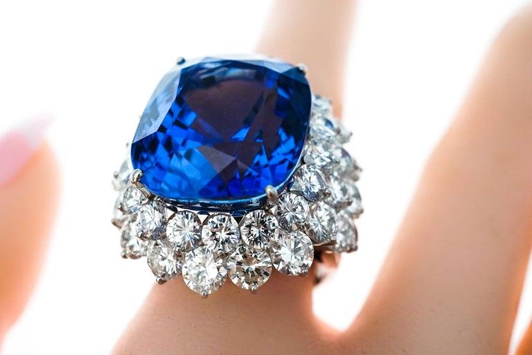 46.31 Carat AGL Ceylon Sapphire  Diamond Ring For Sale 4