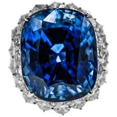 46.31 Carat AGL Ceylon Sapphire  Diamond Ring