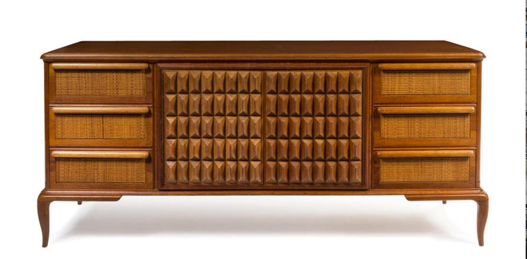 Spectacular Midcentury Italian Server, Walnut, Cane, Very Textural, Great Color For Sale 5