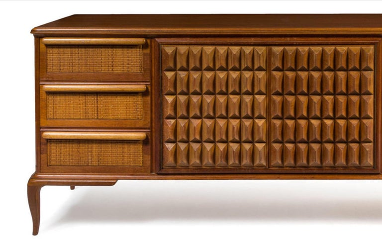 Spectacular Midcentury Italian Server, Walnut, Cane, Very Textural, Great Color For Sale 10