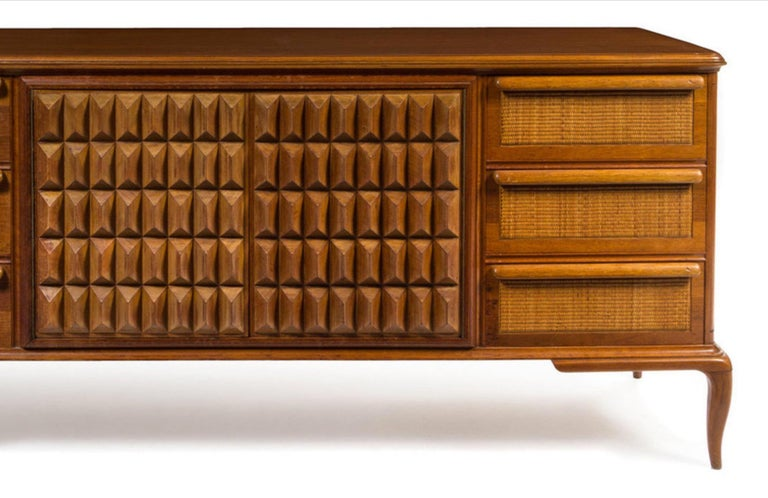 Spectacular midcentury Italian server, walnut, cane. Very textural. Great color Measures: H 32 1/2 x W 73 1/2 x D 21 inches. Has been detailed so in pristine condition.  Inside is drilled for shelves but non exist but could be made.