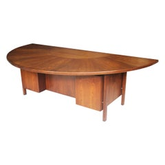 Spectacular Mid-Century Modern Walnut Executive Desk with Sunburst Demilune Top