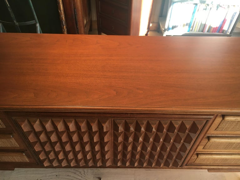 Spectacular Midcentury Italian Server, Walnut, Cane, Very Textural, Great Color For Sale 2