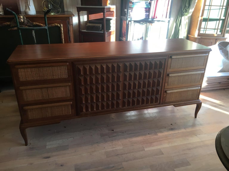 Spectacular Midcentury Italian Server, Walnut, Cane, Very Textural, Great Color For Sale 3