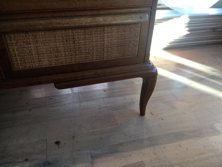 Spectacular Midcentury Italian Server, Walnut, Cane, Very Textural, Great Color For Sale 4