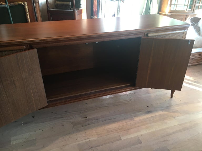 Spectacular Midcentury Italian Server, Walnut, Cane, Very Textural, Great Color For Sale 9