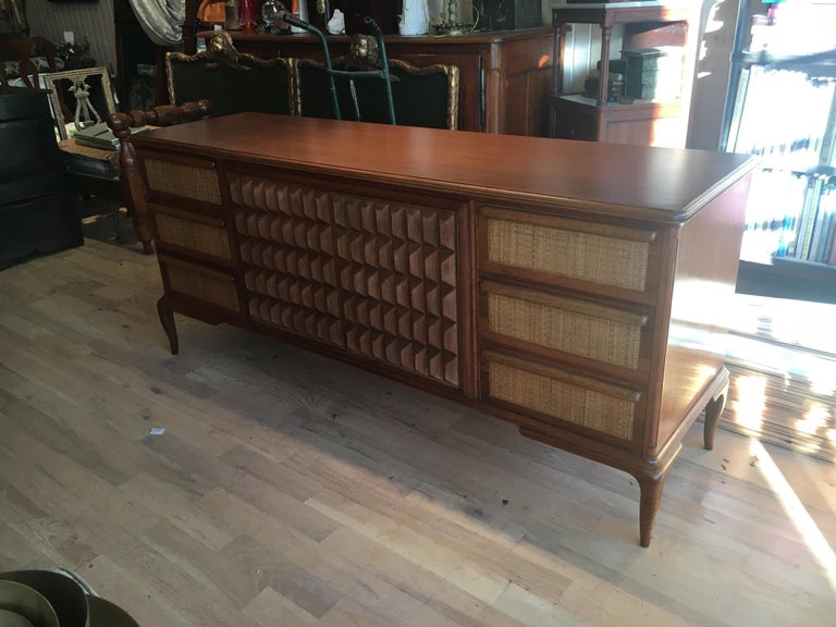 Spectacular Midcentury Italian Server, Walnut, Cane, Very Textural, Great Color For Sale 14