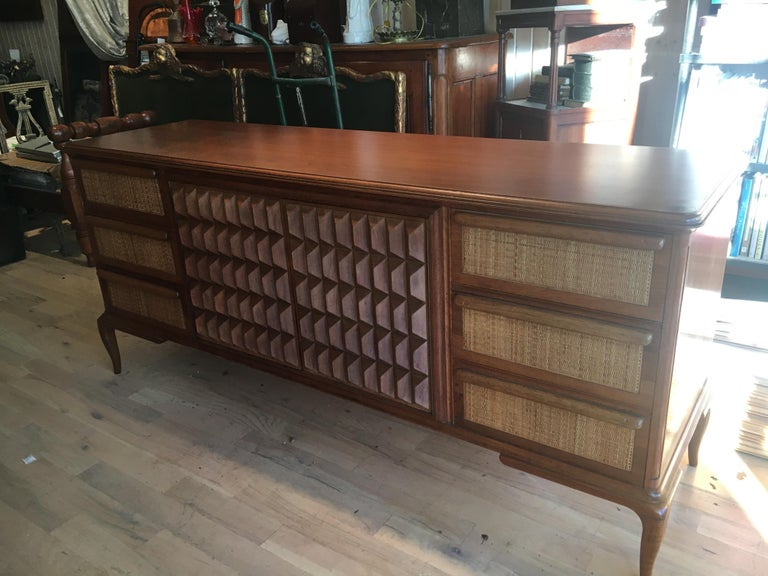 Spectacular Midcentury Italian Server, Walnut, Cane, Very Textural, Great Color In Excellent Condition For Sale In Buchanan, MI