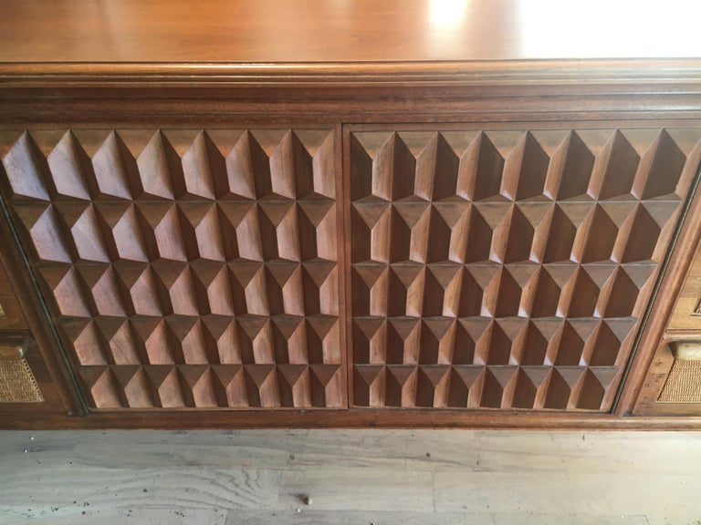 Spectacular Midcentury Italian Server, Walnut, Cane, Very Textural, Great Color For Sale 1