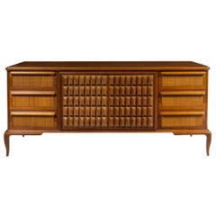 Spectacular Midcentury Italian Server, Walnut, Cane, Very Textural, Great Color
