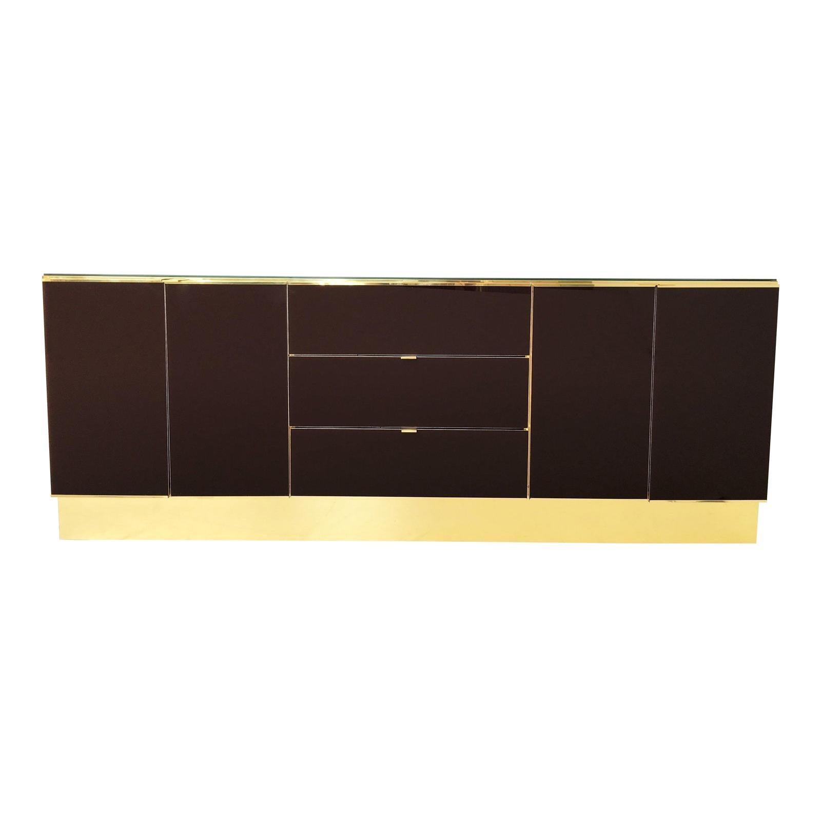 Spectacular Mirrored and Brass Dresser/Credenza by Ello Furniture