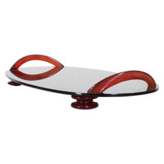 Spectacular Modern Flair Footed Serving Tray Smoke Glass with Ruby Red Handles