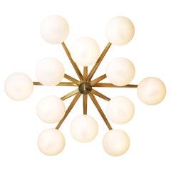 """Spectacular Modern Italian Ceiling Light """"Mila"""" 12 Opalines Chandelier Opalin"""