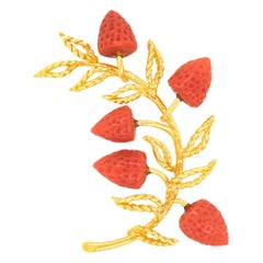 Spectacular Modernist Coral and Gold Strawberry Brooch