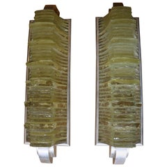 Spectacular Modernist Pair of Sconces by Jean Perzel, France, Art Deco Style