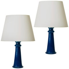 Spectacular Monumental Pair of Table Lamps in a Saturated Azure by Nils Kähler