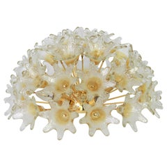 Spectacular Murano Glass Sunburst Flush mount by Venini VeArt, Italy 1970s
