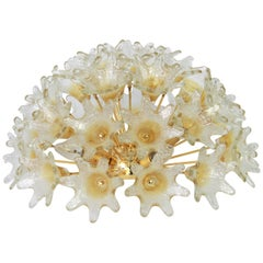 Spectacular Murano Glass Sunburst Flush Mount by Venini VeArt, Italy, 1970s