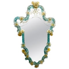 Spectacular Murano Glass Wall Mirror Blue and Clear Glass, circa 1930s, Italy