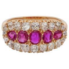 Spectacular Natural Burmese Ruby and Diamond Rare Victorian Ring