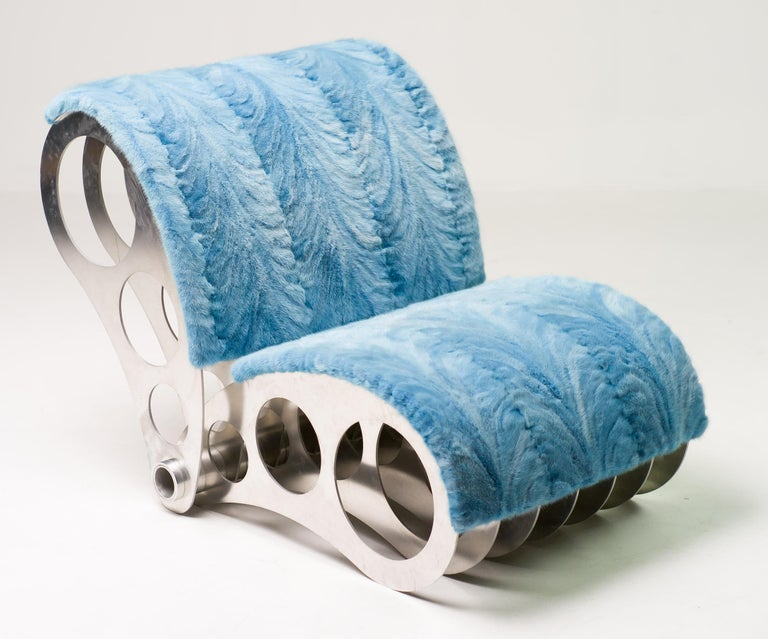 Spectacular One-Off Aluminium Chair in Baby Blue Mink For Sale 4