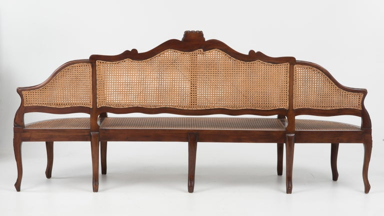 Italian Spectacular Ornately Carved and Caned 3 Section Bench Settee Loveseat For Sale