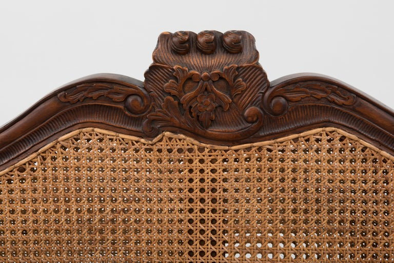 Late 20th Century Spectacular Ornately Carved and Caned 3 Section Bench Settee Loveseat For Sale