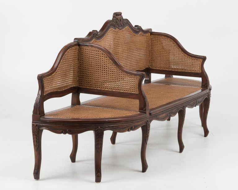 Spectacular Ornately Carved and Caned 3 Section Bench Settee Loveseat For Sale 1