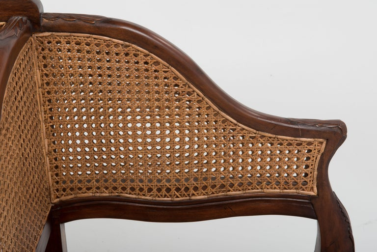 Spectacular Ornately Carved and Caned 3 Section Bench Settee Loveseat For Sale 2