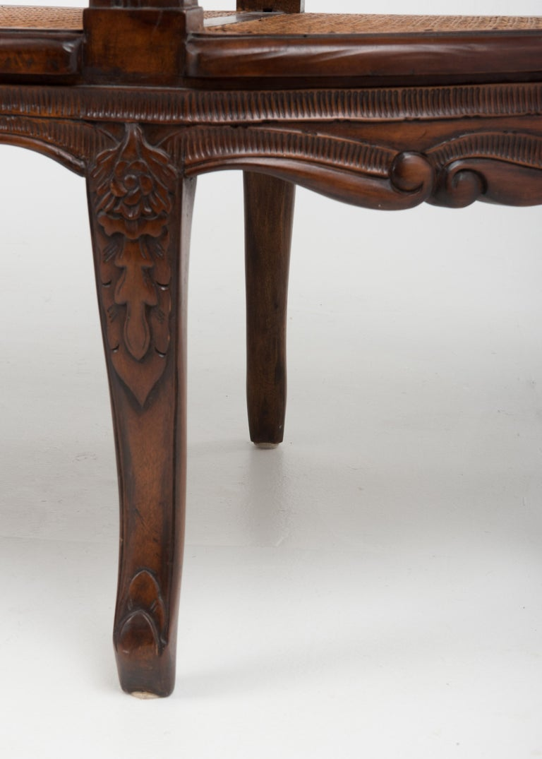 Spectacular Ornately Carved and Caned 3 Section Bench Settee Loveseat For Sale 4