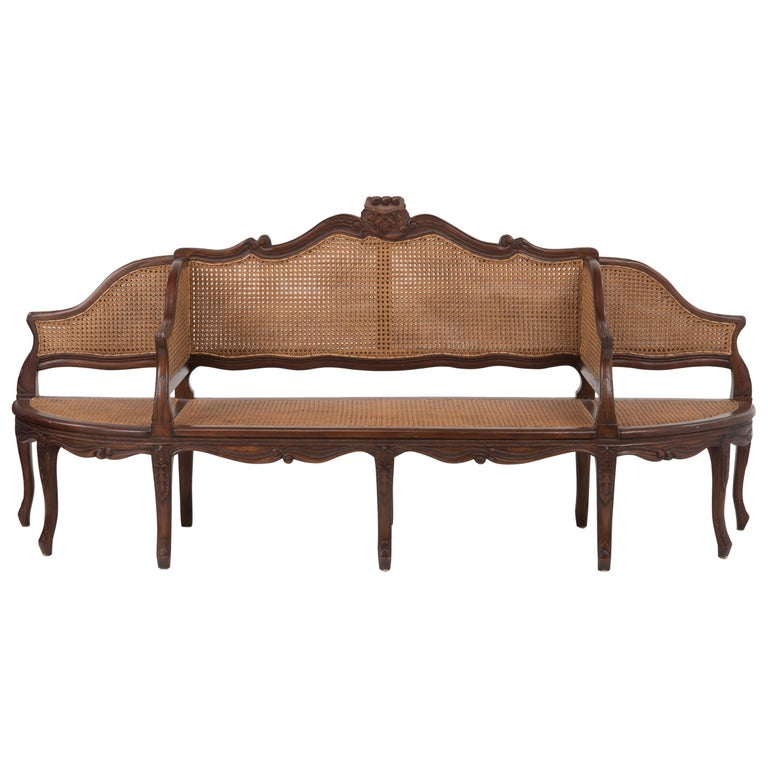 Spectacular Ornately Carved and Caned 3 Section Bench Settee Loveseat For Sale