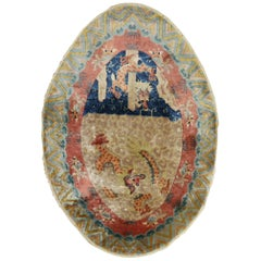Spectacular Oval Chinese Dragon Rug