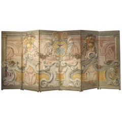 Spectacular Painted Six-Panel Armorial Baroque Screen from Italy, Circa 1700