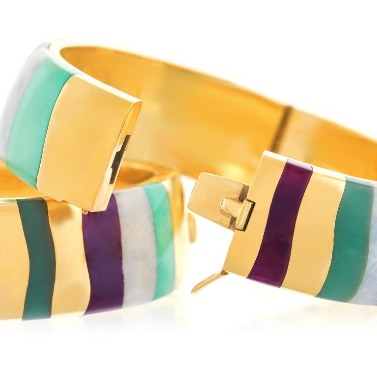 Angela Cummings for Tiffany Pair of Inlaid Stone Gold Bangles For Sale 3