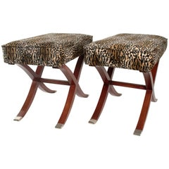 Spectacular Pair of Art Deco Style x Shaped Stools, France, Late 20th Century