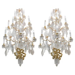 Spectacular Pair of Chandeliers, 1930-1940 Gilt Bronze and Crystal