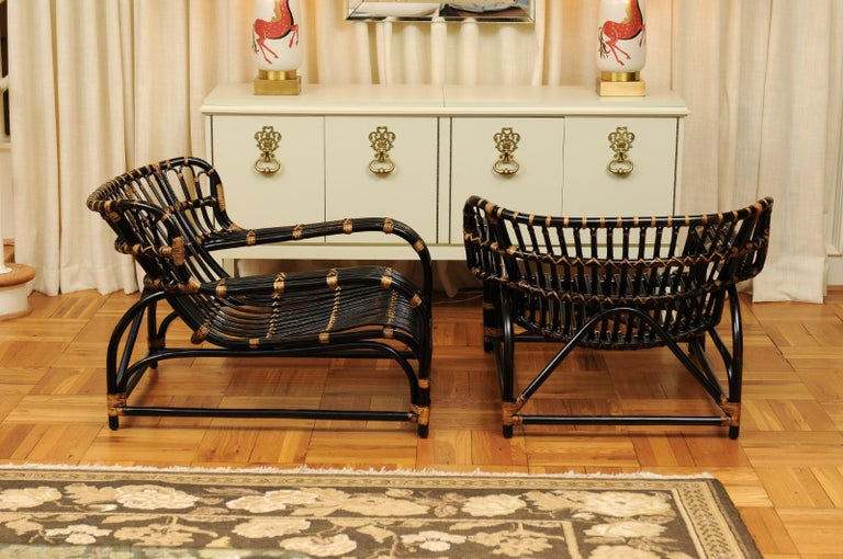 Spectacular Pair of Espresso and Caramel Art Deco Rattan Loungers, circa 1940 For Sale 5
