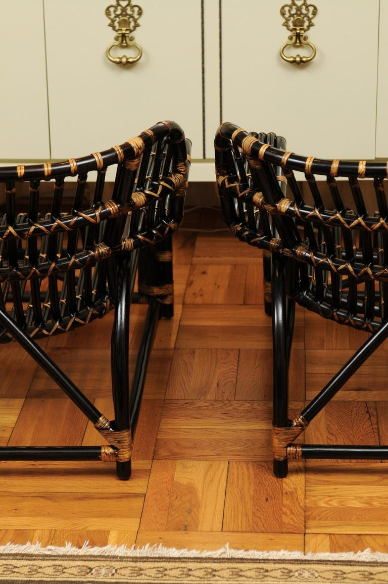 Spectacular Pair of Espresso and Caramel Art Deco Rattan Loungers, circa 1940 For Sale 9
